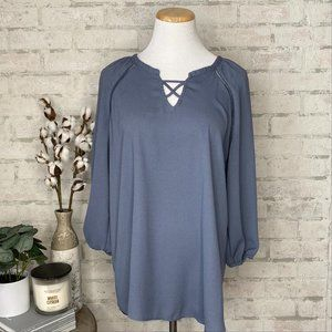 Maurices   Blue 3/4 Sleeve Blouse